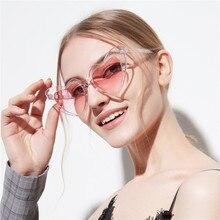 Heart Shape Sunglasses Women Brand Designer Plastic Reflective Sun Glasses UV400 Girl Pink Oversized