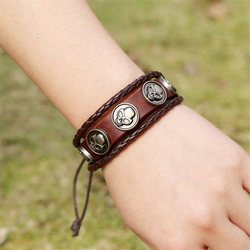 JS Harajuku Goth Bracelet Punk Male Leather Skull Braclet Men Scull