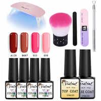 Beateal Gel Varnish Set For Manicure Nail Kit Set 4Color UV Gel Polish Top Base Coat 36W LED Lamp Gel Varnish UV Nail Polish Set