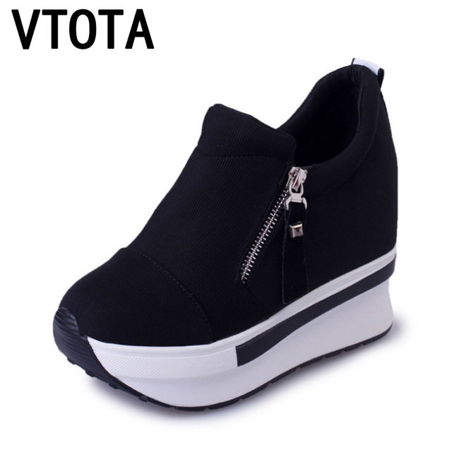 4dd0f606364 VTOTA Women Casual Platform Shoes Fashion High Heels Shoes Woman Wedges Women  Shoes Loafers Heigh Increasing zapatos mujer B98