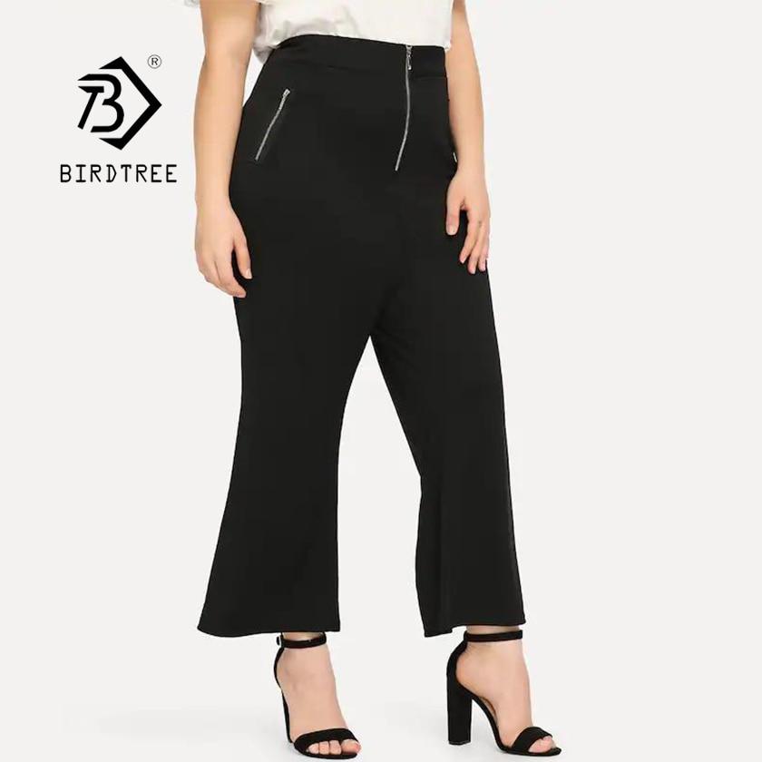 2019 New Women's Black   Wide     Leg     Pants   Zipper Fly High Waist Office Lady Loose Bottom Plus Size 4XL Modis Flare Trousers T92709F