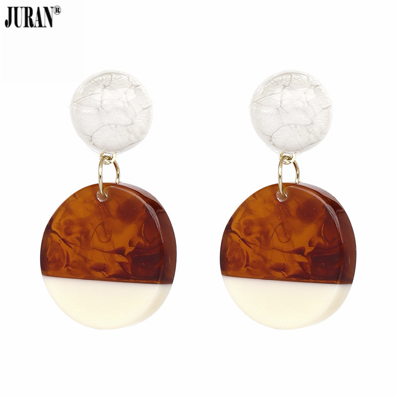 JURAN Fashion Women Statement Earrings Luxury Brand Jewelry Brown Black Round Vintage Drop Earrings For Wedding Party Grils Gift