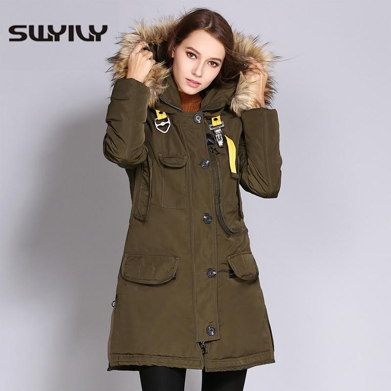 SWYIVY Winter Woman Jacket Coats Warm Long Desgin 2018 New Female Fur Collar Hooded Parkas Thick Warm Armygreen Women Coat XXXL