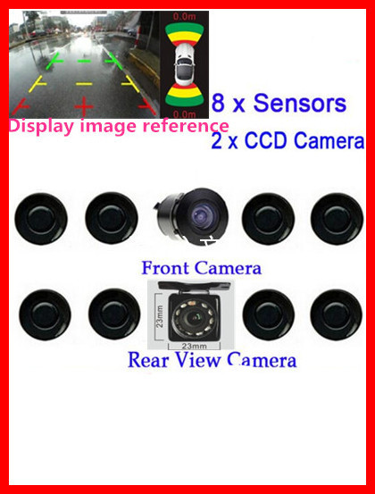 c681bdc3603 upgrade Dual Channel Video Car Parking Sensors Reverse Radar System 8 Sensor  with Front   Rear view Camera For Parking Assist