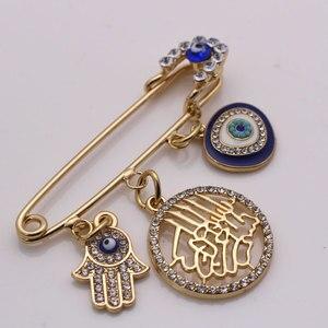 Image 5 - W imię allaha mercifu turecki evil eye hamsa ręka fatimy broszka ze stali nierdzewnej dziecko pin zaakceptować drop shipping
