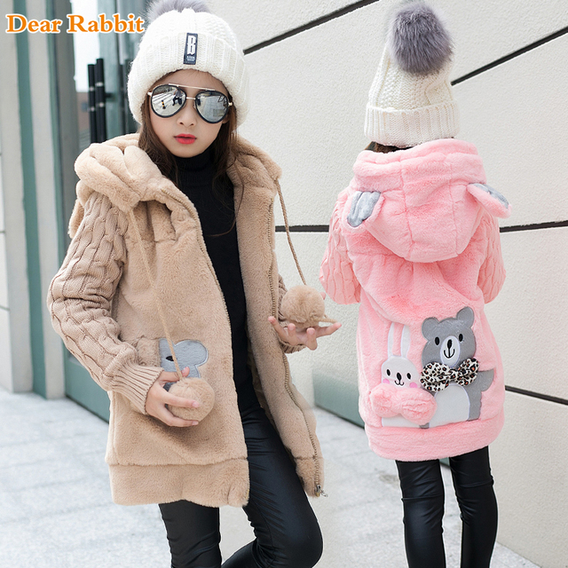 Lovely little bear Winter Girls clothing Faux Fur Fleece Coat Warm Jacket Xmas Snowsuit Outerwear Children kids Clothes parka