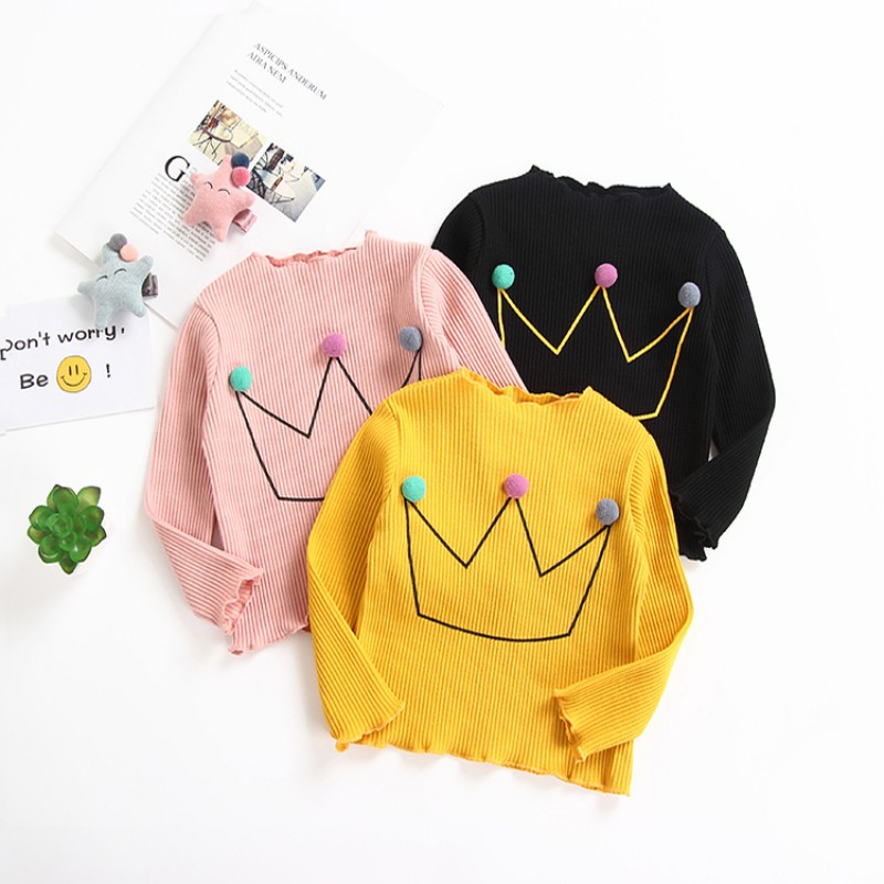 Candy Color Kids Baby Girl Turtleneck Long Sleeve Cotton Bottom Tops Shirts Cute