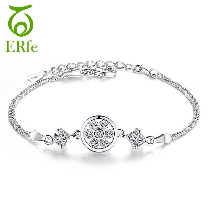 ER Double Layer Box Chain Bracelet Femme Argent Adjustable Bracelets Women Cubic Zircon Braslet Pulseiras Feminina Prata SB013