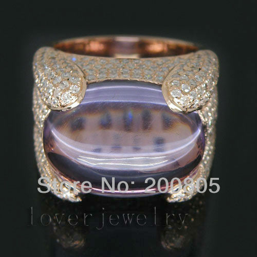 Vintage Solid 14Kt Rose Gold 15.40Ct Diamond Natural Purple Amethyst Ring For Sale