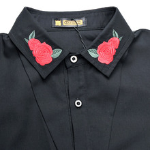 New fashion casual men's personality Korean long sleeved shirt black embroidery