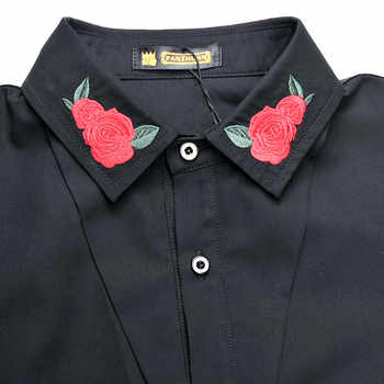 Free Shipping New fashion casual men\'s personality male Korean long sleeved shirt black embroidery flower shirt 2033 FanZhuan