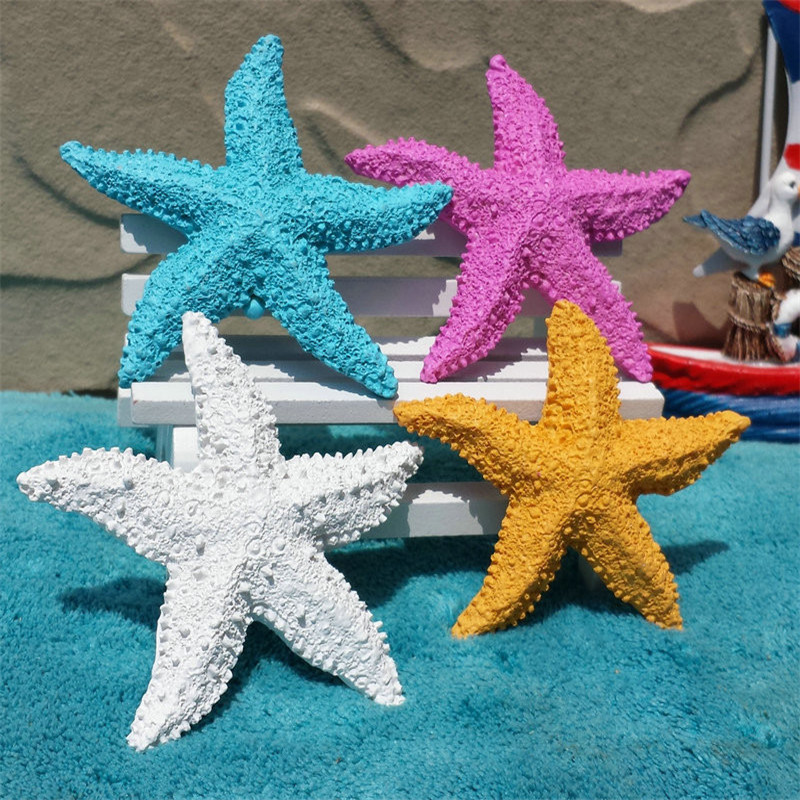 Mediterranean Ornaments Style Resin Starfish Ocean Home Fish Tank Decoration Shooting Props Mini Starfish 7.5cm Wall Decorations