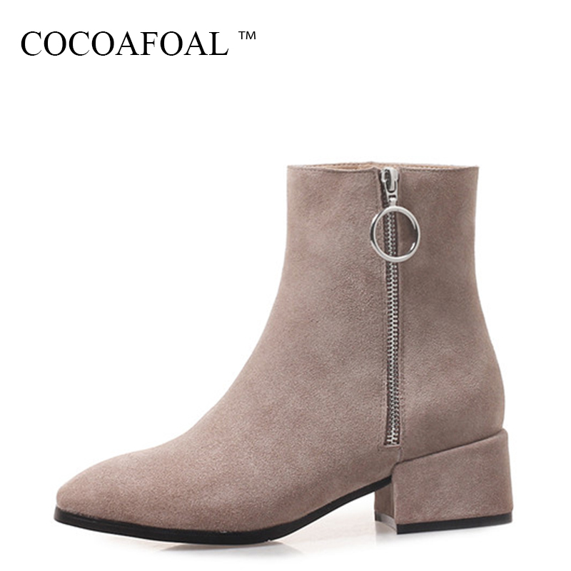 COCOAFOAL Woman Genuine Leather Martin Boots Autumn Winter Plus Size 31 41 Ankle Boots Black Fashion Sexy High Heeled Shoes 2018 women boots plus size 35 43 genuine leather autumn winter ankle boots black wine red shoes woman brand fashion motorcycle boot
