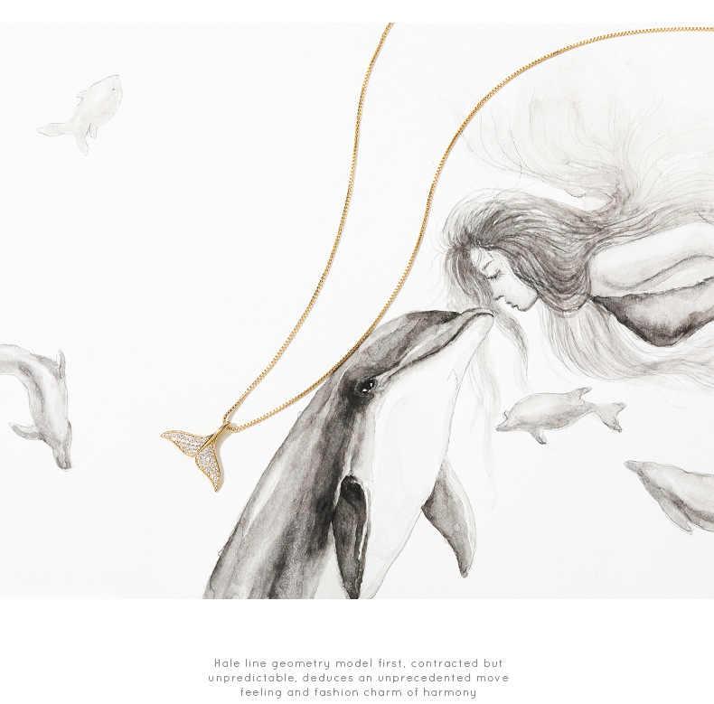 ZHOUYANG จี้สร้อยคอผู้หญิง Mermaid Tail Cubic Zirconia แสงสีทอง/เงินสีแฟชั่นเครื่องประดับ KAN060