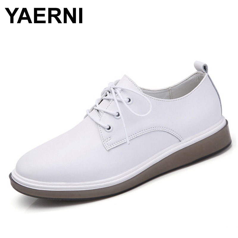 YAERNI women oxfords shoes ballerina flats white shoes women genuine Leather lace up boat shoes moccasins loafers 8512 spring women oxford shoes ballerina flats shoes women genuine leather shoes moccasins lace up loafers white shoes footwear