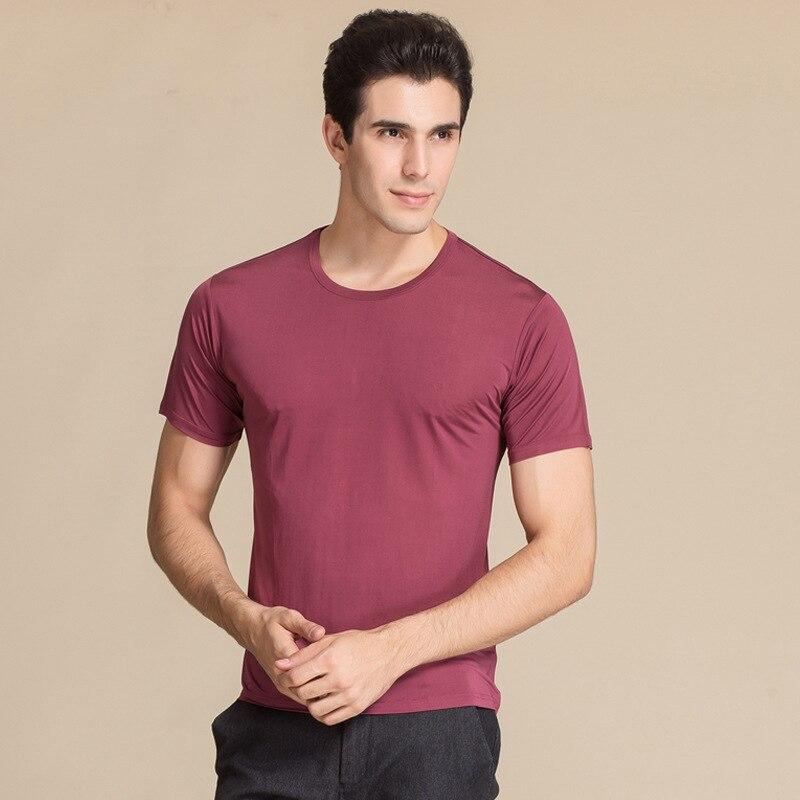 100% T-shirt de qualité supérieure en soie PURE, T-shirt à manches courtes, chandail de grande taille à tricoter en soie pour hommes d'âge moyen