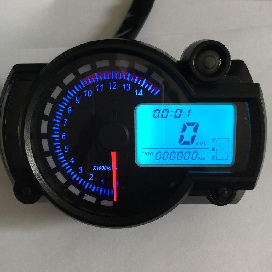 Motorrad Digitale Licht LCD Lcd-computer-geschwindigkeitsmesser-grüne Tachometer W/Geschwindigkeit Sensor 7 farbe display öl level meter Moderne Universal