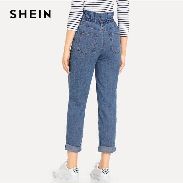 SHEIN Blue Rolled Hem Frill High Waist Jeans 3 Colors 2019 Women Spring Plain Pocket Zipper Elastic Waist Casual Pants Trousers 3