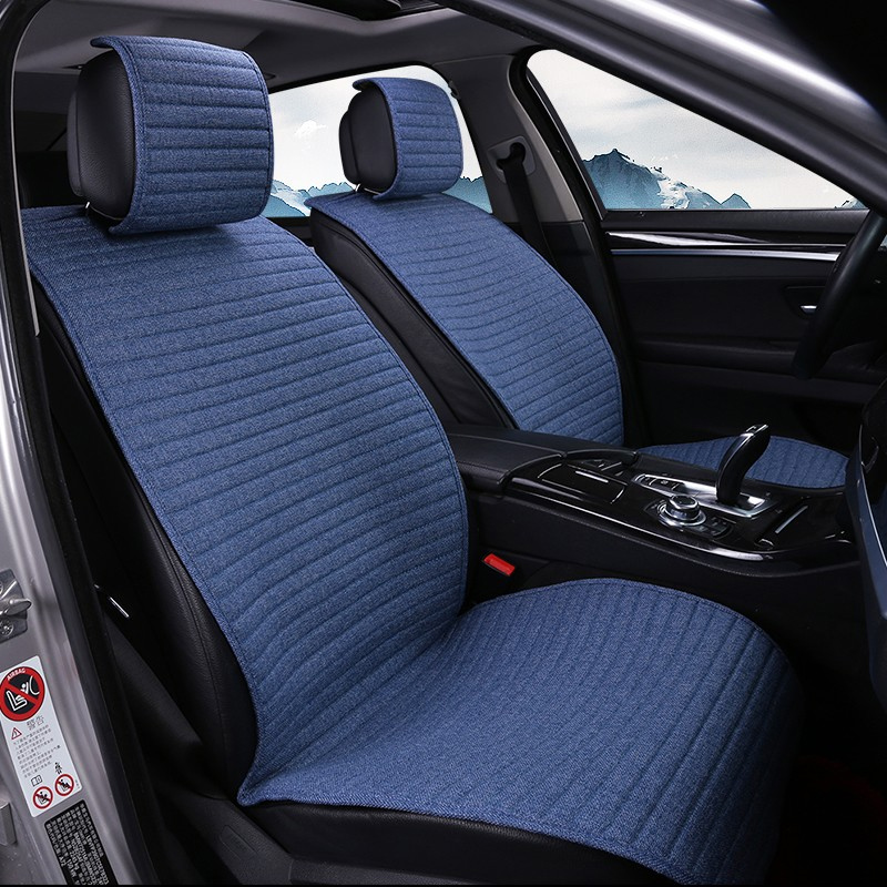 1 pieza unidades O SHI cojín de asiento de coche de lino/almohadilla de asiento de coche transpirable apto para la mayoría de automóviles, camiones, cubiertas interiores para coches proteger asiento delantero