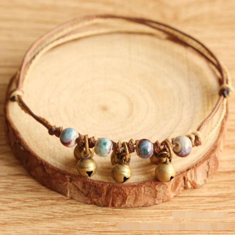 Free shipping! 2017 new simple ceramic bell bracelet for women gril nice gift handmade ceramic beads Multilayer charm bracelet