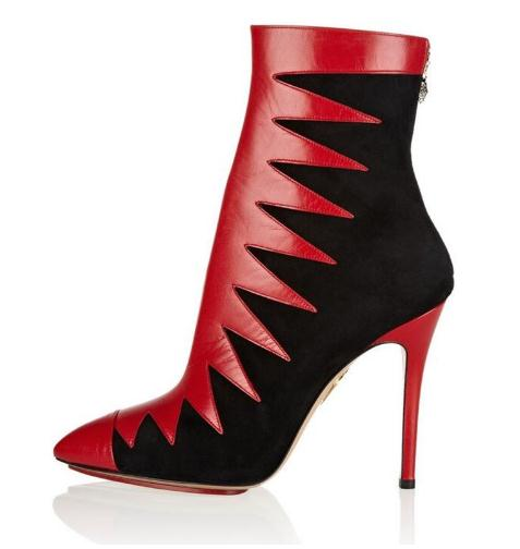 Newest Fashion Women Red Black Mixed Color Pointed Toe Ankle Boots Autumn Back Zipper High Thin Heel Celebrity Party Shoes in Ankle Boots from Shoes