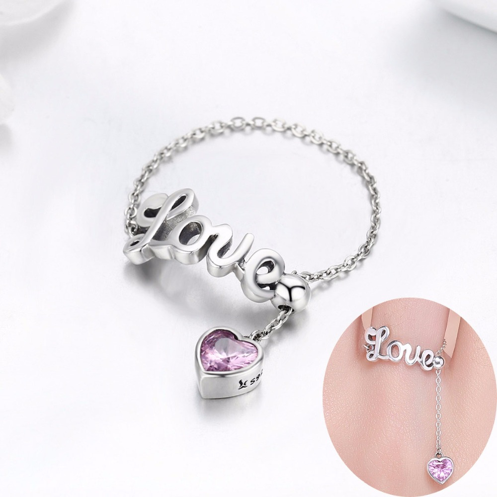 WOSTU Unique Original Design 925 Sterling Silver Pink Heart Love Letters Chain Link Free Size Ring Female Fine Jewelry BKR246