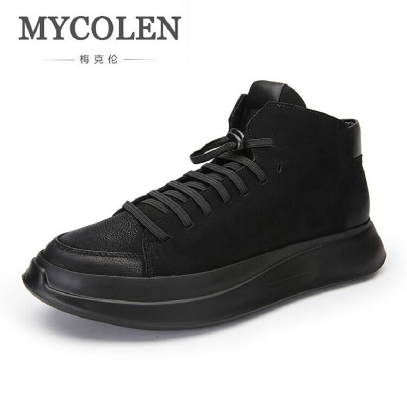 MYCOLEN 2017 Men Lightweight Black Casual Shoes Comfot Lace-Up New Arrival High Top Man Outdoor Shoes scarpe uomo di marca black sequins embellished open back lace up top