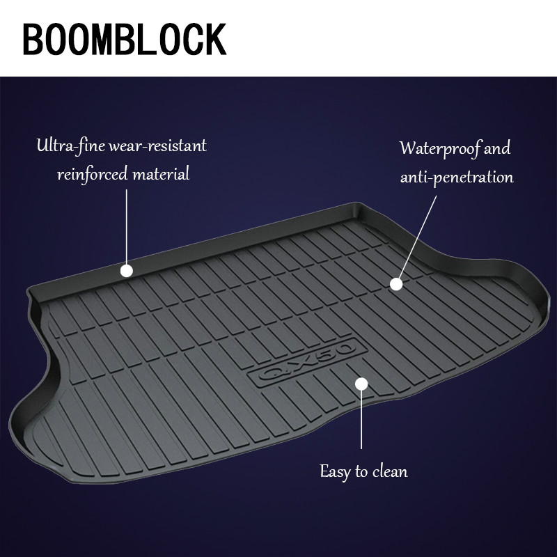BOOMBLOCK For Infiniti QX50 Q50L Q50 Waterproof Anti-slip Car Trunk Mat Tray Floor Carpet Pad Protector Auto Accessories boomblock for infiniti q50 q50l waterproof anti slip car trunk mat tray floor carpet pad protector auto accessories