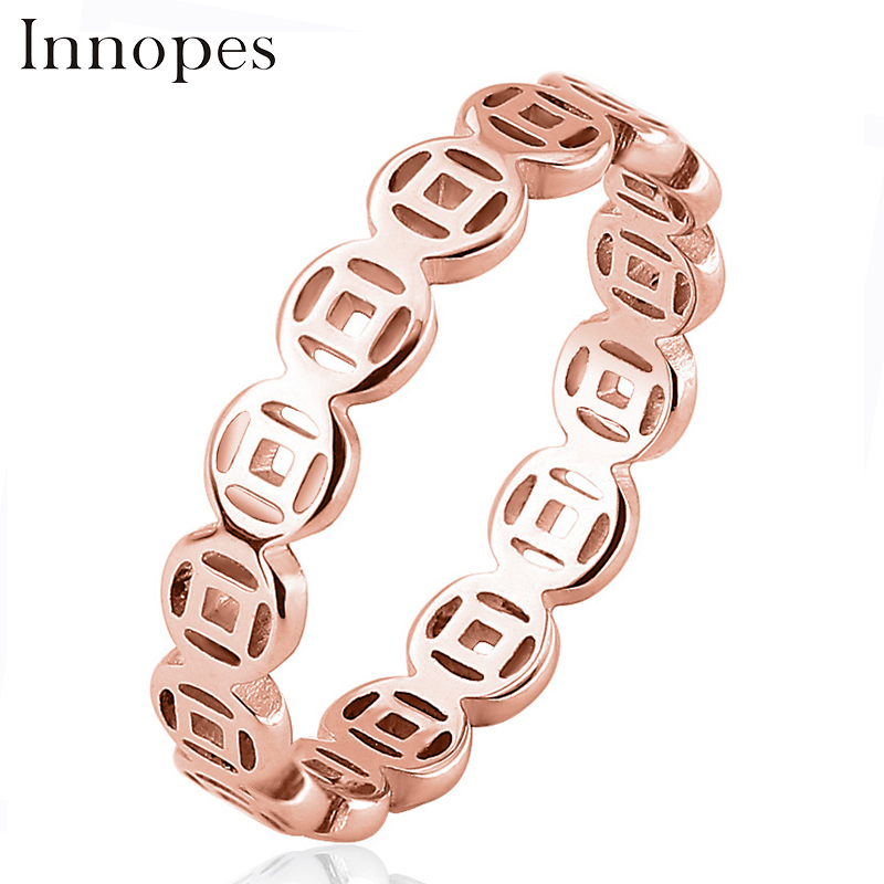 Innopes Great Wall lines rings hollow out for girls finger stainless steel Party unisex