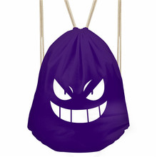 Noisydesigns Anime Pokemon Gengar Solid Drawstring Bags Women Small Travel Backpack Monster Eyes Men Shoes Storage Bags Mochila