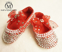 MIYOCAR custom Stunning red rhinestone crystal Baby Girl children shoes handmade Bling Diamond first Walker infant shoes