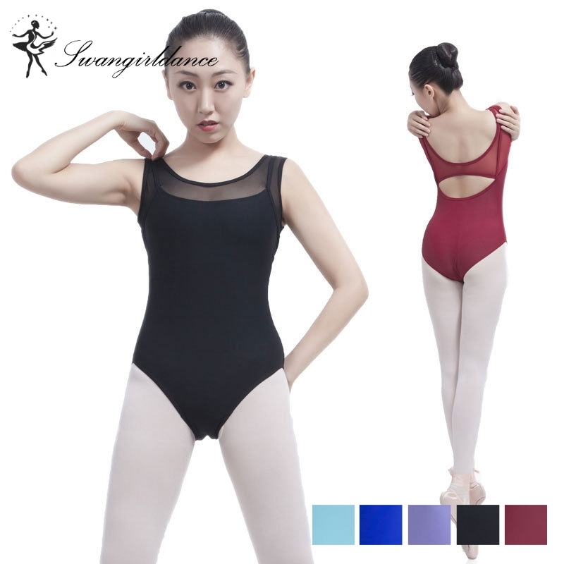 free shipping mesh tank dance sexy leotard women ballet dance training clothes adult spandex ballet dancewear girls ML6017