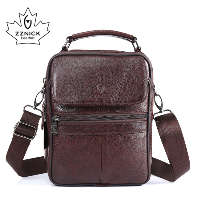 ZZNICK 2017  New Arrival Genuine Leather Bags For Men Shoulder Bag Mens Bag Messenger Bag Portfolio flap pocket 8206
