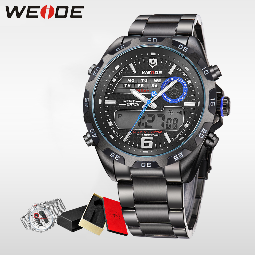 WEIDE luxury Brand Sport Watch Quartz Analog LCD Digital Stainless Steel Band Date Black Dial Alarm Military Men Watches WH3403 weide men running sports quartz watch black strap dual date day back light analog digital alarm clock military watches