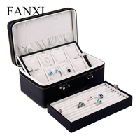 FANXI Free Shipping Wooden With PU Jewellery Travelling Case For Rings And Necklaces Display Leather Jewelry