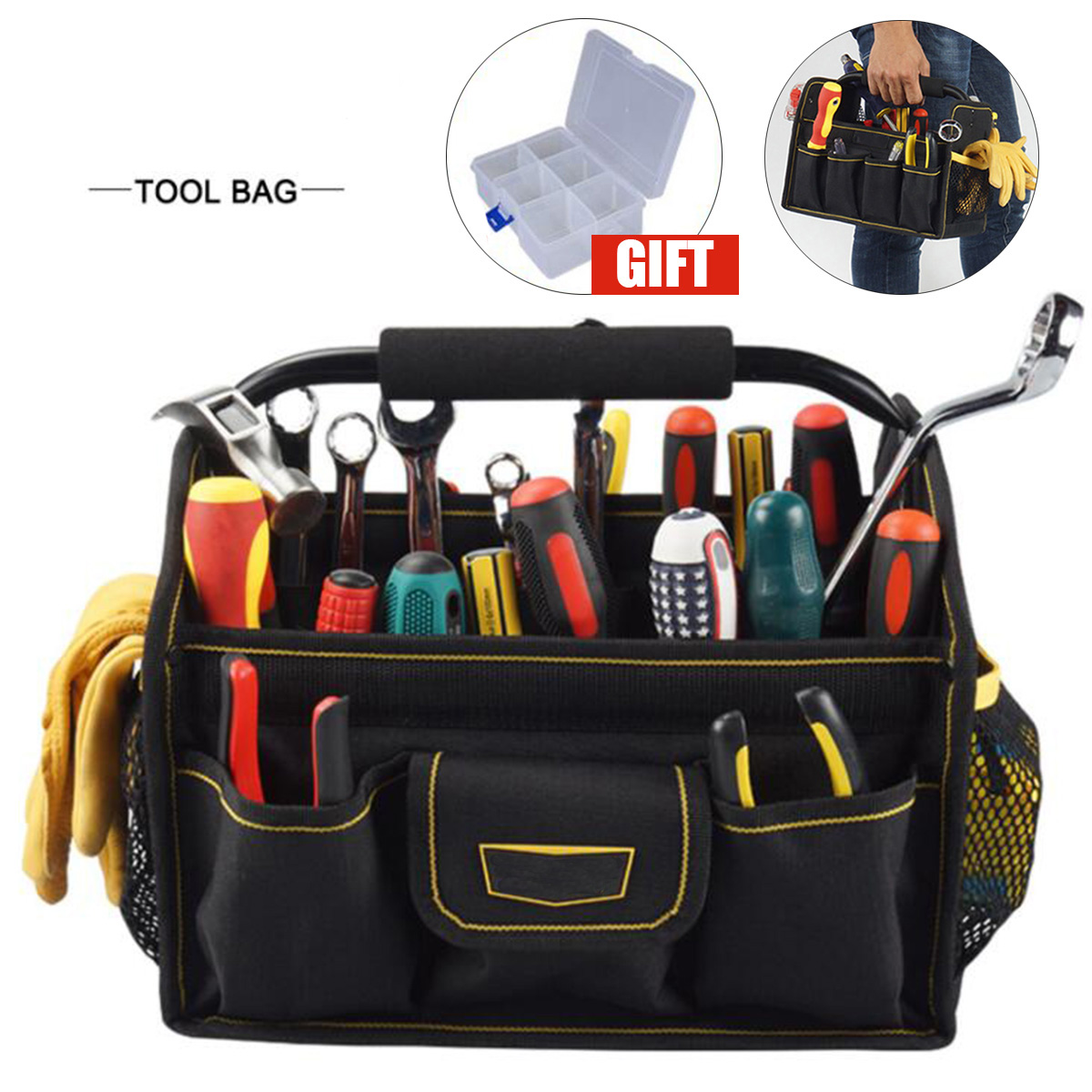 26 Pockets Wide Mouth Oxford Cloth Electrician Tool Bag Thicken Hardware Professional Electrician Repair Storage Work Bag Holder 1 pcs tool kit pack hardware repair kit tool bag electrician work multifunction durable mechanics oxford cloth bag organizer bag