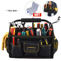 26 Pockets Wide Mouth Oxford Cloth Electrician Tool Bag Thicken Hardware Professional Electrician Repair Storage Work Bag Holder