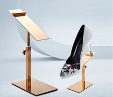 Free shipping stainless steel shoe display stand removable mounting shoe rack women sandals holder high heel leather shoe rack high quality gold color acrylic display stand shoe rack shoe holder jewelry display stand wallet holder rack shoe cabinets