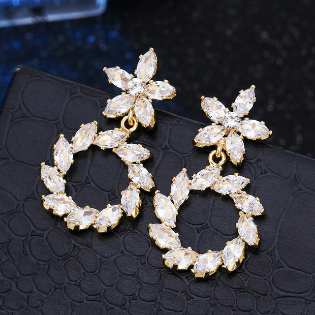 Latest Statement Wedding Earrings Cubic Zirconia Drop For Women Gold Colour Bridal Jewelry Evening Party Gifts In From