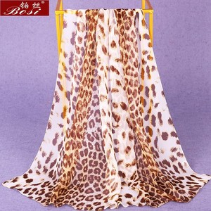Chiffon silk scarf shawl schal scarves hijab winter schal poncho women scarfs ethnic luxury ladies bohemian wape animal print 1(China)