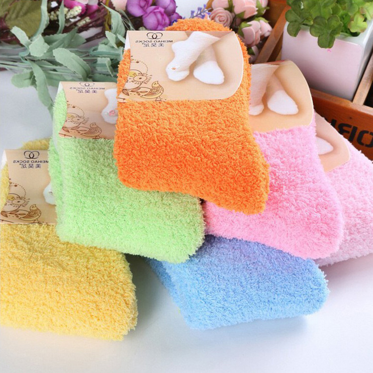 1 PC Women Girls Bed Socks Pure Color Fluffy Warm Winter Kids Gift Soft Floor Home clothing accessories