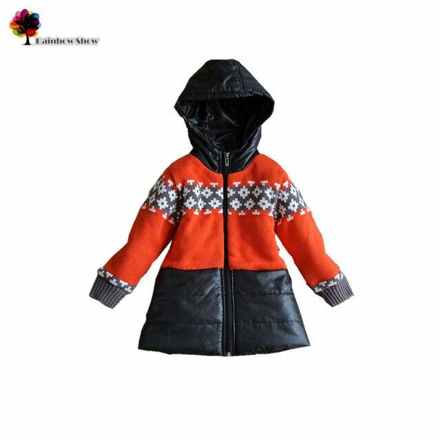 Новые детская одежда осень зима девушки толстые теплые лоскутное свитер пальто с капюшоном жаккардовые свитер пальто дети верхней одежды