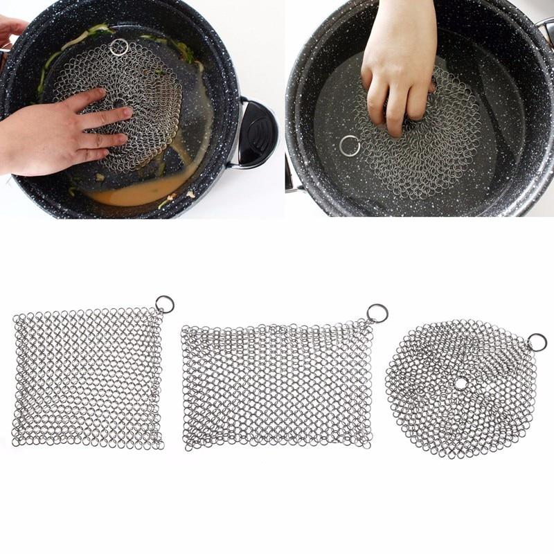 Кольчуге скруббер для дома чугун Кухонная посуда чистого 7*7/8*6 см Нержавеющаясталь-P101
