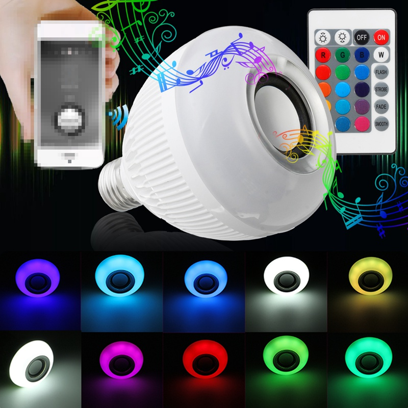 Newest 12W LED Lamp Bulb E27 RGB Wireless Bluetooth Speaker Music Player 16 Color Changing LED Light Bulbs With Remote Control kmashi led flame lamp night light bluetooth wireless speaker touch soft light for iphone android christmas gift mp3 music player