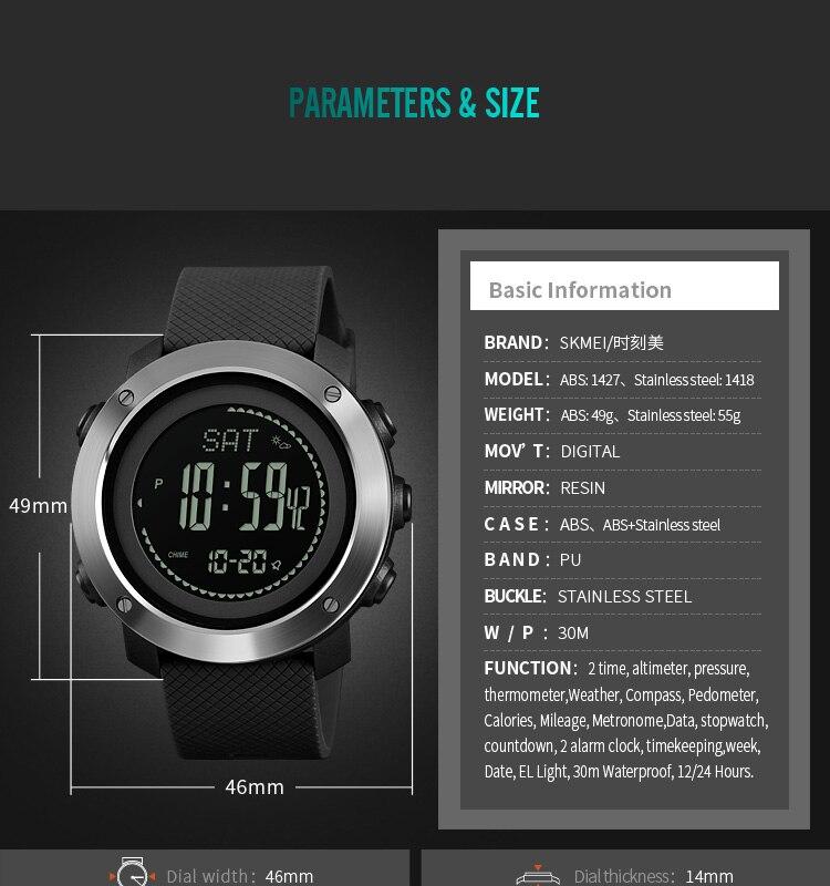 Skmei Men Compass Sport Watch Digital Sport Watches Pedometer Calorie Mileage Distance Countdown Metronome Clock Reloj Hombre Elegant Appearance Men's Watches Digital Watches