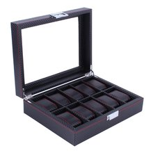 OUTAD 10 Grids Black Carbon Fibre Pattern Watch Box Watch Holder Storage Box Jewelry Display Rectangle Watch Case(China)