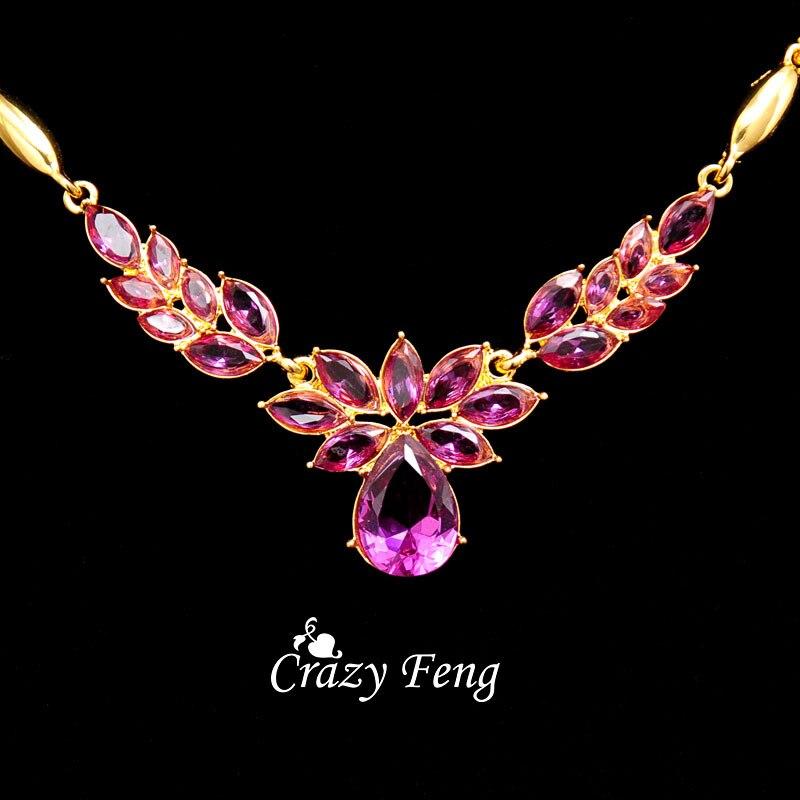 3 couleurs femmes couleur or fleur forme bijoux de fiançailles ensemble CZ cristal pendentif Collier boucles d'oreilles bijoux ensembles Collier Femme 4