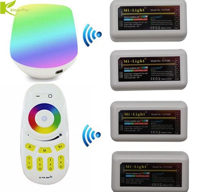 Kingoffer Mi Light Wireless 2.4g 4 Zone Touch Remote Rf Rgbw Dimmer Controller App Wifi Ibox For Rgb/rgbww Led Strip Bulb Rgb Controlers
