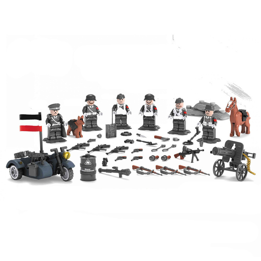 6pcs German Army MILITARY SWAT Soldiers Special Forces Navy Seals Team Marine Corps Building Blocks Figures Gifts Toys for Boys
