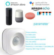 Alta precisão inteligente sem fio pir sensor de movimento detector compatível alexa google assistente casa pir sensor de movimento luzes interruptor
